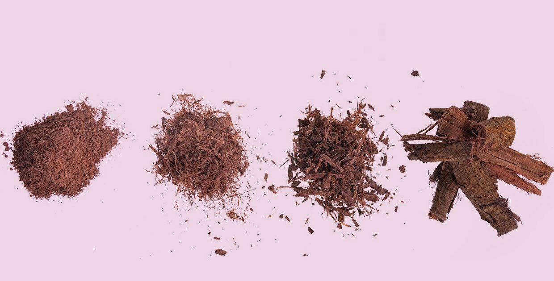 De 4 varianten van Mimosa hostilis root bark (MHBR) aangeboden door The Mimosa Company